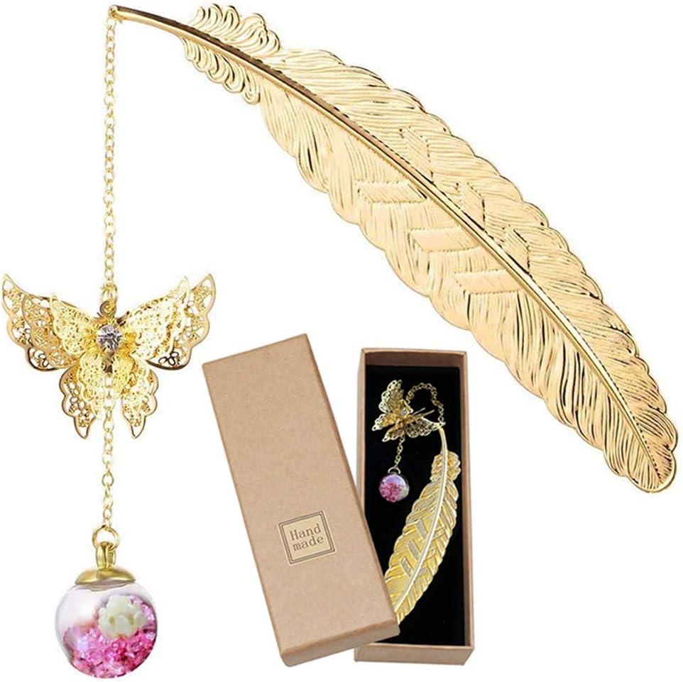 Marcapáginas, Marcapáginas de plumas de metal dorado con mariposa 3D y Colgante de cuentas de flores secas eternas para mujeres y hombres, Marcadores de libros antiguos Marcadores de página Regalos