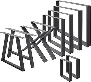 ECD Germany 2x vierkante tafelpoten, 30 x 43 cm, donkergrijs, gepoedercoat staal, industrieel ontwerp, metalen tafellopers...