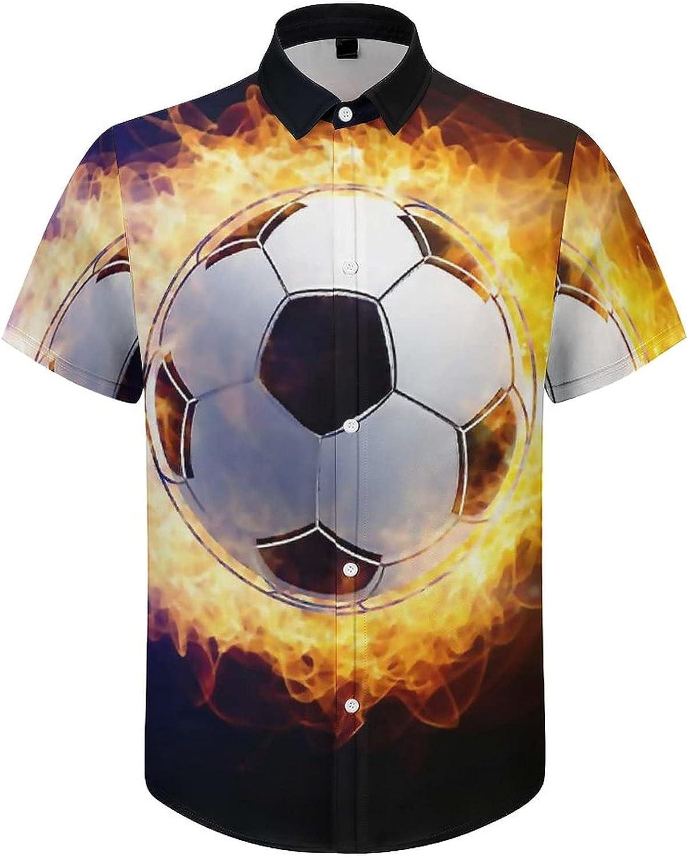 Hawaiian Shirts for Men Fire Football Blue Soccer Printed Beach Shirt Hawaiian Shirts