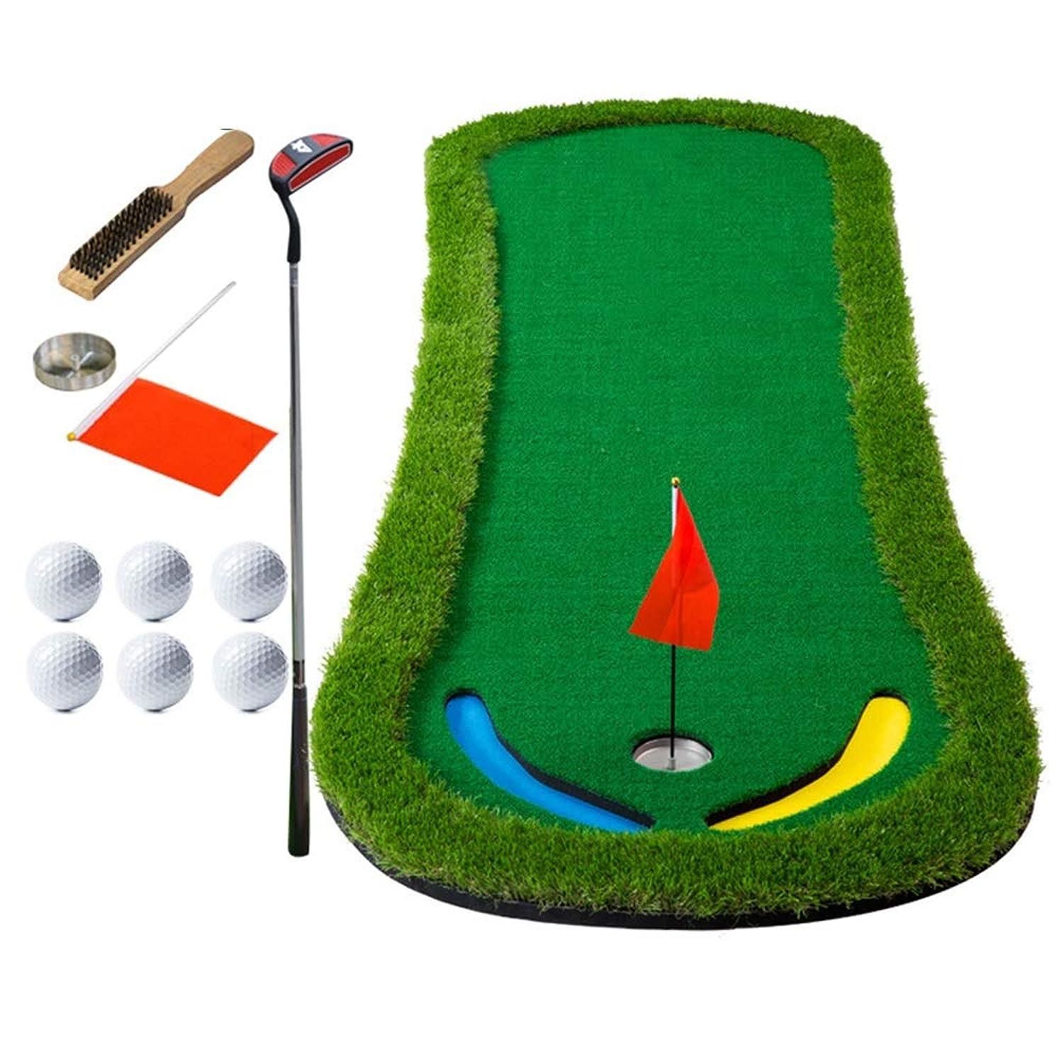 リア王謙虚な母性ゴルフ練習用マット ショットマット ゴルフパッティンググリーンゴルフコートミニトレーニングマットポータブルエイズ - エクストラロングリアルライクグラスパッティングトレーナーセット (色 : 1.3m, サイズ : Accessories+putter)