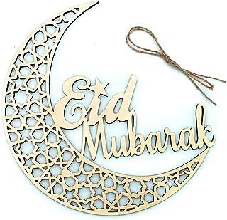EA-STONE Muslim Islam Decoration Moon Eid Mubarak Wooden Plaque Hanging Pendant Ramadan Activities For Home DIY Party Supplies