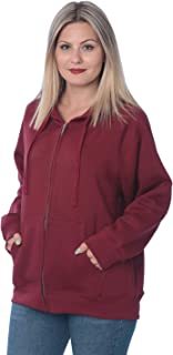 Womens Sweatshirt Plus Size Heavyweight Active Fleece Full Zip-Up Hoodie