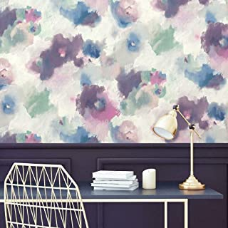 RoomMates RMK11079WP Impressionist Pink and Blue Floral Peel and Stick Wallpaper