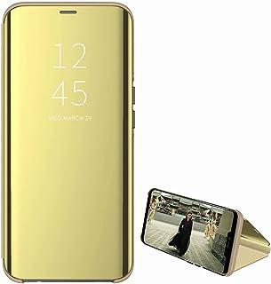 جراب بحامل مرآة لهاتف Samsung Galaxy A02، جراب محفظة واقٍ من الجلد بمسند كامل الهيكل من Miagon Clear View PC لهاتف Samsung...