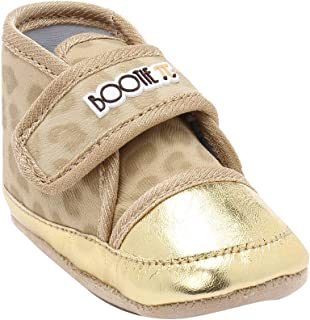 Hopscotch Bootie Pie Girls Synthetic Gold Animal Print Boots for Infants in Beige Color
