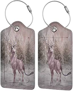 Modern luggage tag Winter Fairytale Theme Design An Elk with Lights in the Winter Forest Pattern Suitable for children and adults Taupe and Warm Taupe W2.7