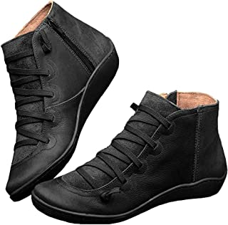 Snovcheoy Women's Retro Ankle Booties Arch Support Side Zip Flat Heel Boots