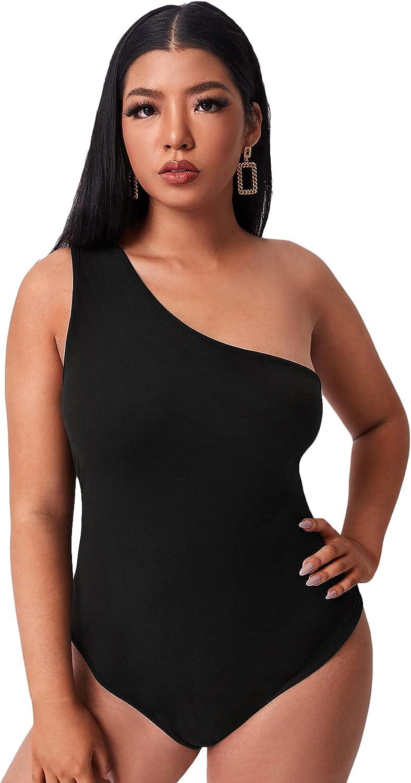 Floerns Women's Plus Size One Shoulder Sleeveless Solid Bodysuit Tops