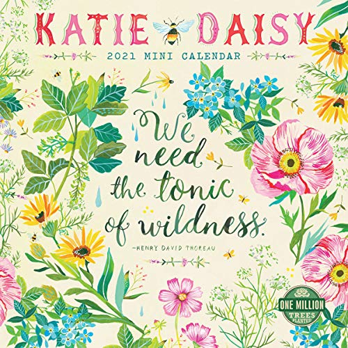 "Katie Daisy 2021 Mini Wall Calendar (7"" x 7"", 7"" x 14"" open) Indiana"