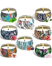 SaiXuan 8 Piezas Regalo de Velas Perfumadas,Cera de Soja Natural,Velas Aromaticas,Aromaterapia Decoración para Relajación Fiesta Boda Baño Yoga Cumpleaños Navidad Día de San Valentín Regalos