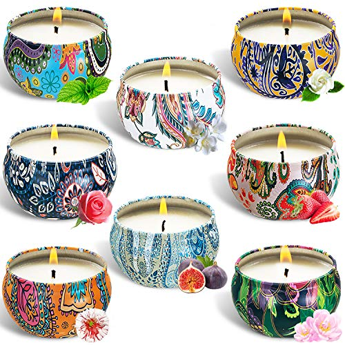 SaiXuan 8Pcs Scented Candles Gift Set,Natural Soy Wax Aromatherapy Candle Gift Set, for Yoga,Relaxation,Stress Relief,Home Fragrance,Air Refresh.