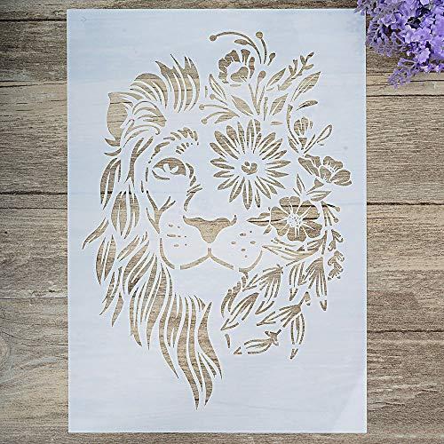 DIY Dekorative Löwen-Schablone zum Malen auf Wänden, Möbeln, Basteln (A4 Größe)