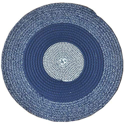 Woonkamertapijt, rond, puur, handgeweven, katoen, tafelkleed, eenvoudig op te hangen, in de mand, tafelloper, laag, blauw en wit, drie kleuren, 180 cm Diameter 80CM