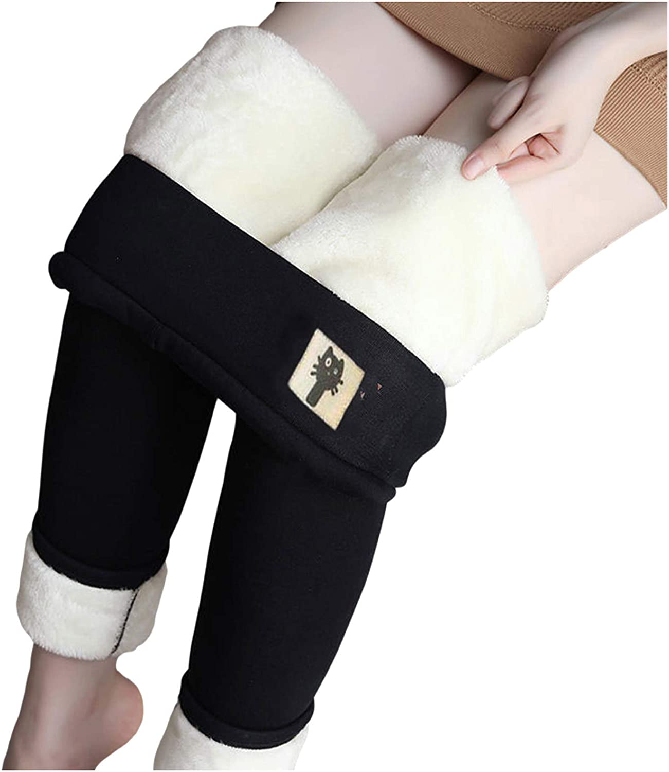 Winter Sherpa Fleece Lined Leggings for Women, High Waist Stretchy Thick Cashmere Leggings Plush Warm Thermal Pants