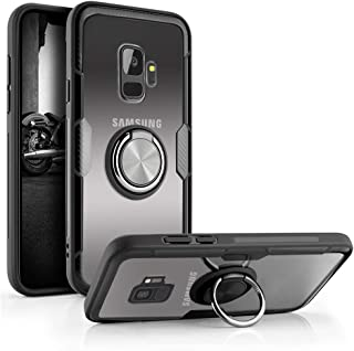 Aitour Samsung Galaxy S9 Case, Clear Hard Back Cover Slim Rubber Bumper Hybrid Case with 360° Rotation Ring Holder Kickstand [Work with Magnetic Car Mount] for Galaxy S9, gee62