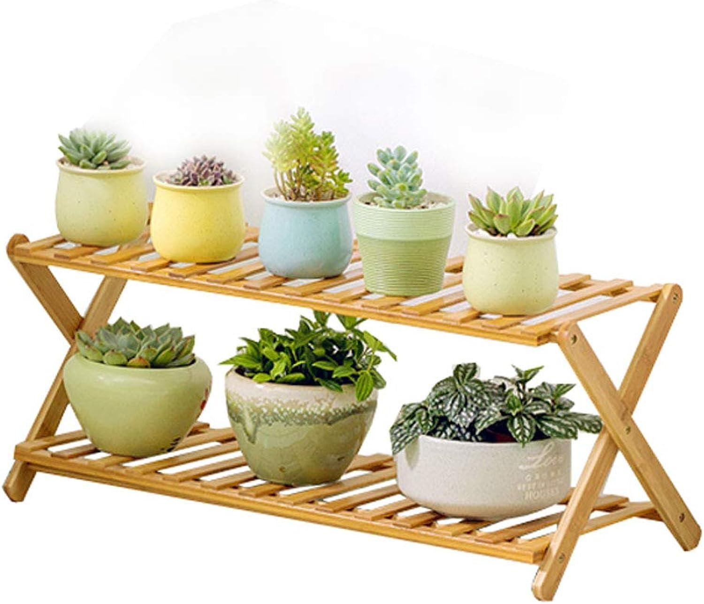 DLoob Folding Plant Stand Pot Rack Bamboo Corner Shelf Storage Shelves for Living Room (Size   H 28CM)