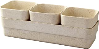 Time Concept Simple Eco Planter Herb Pot Set with Tray - Sand Beige, Set of 3 - Vegetable Garden Planter, I...