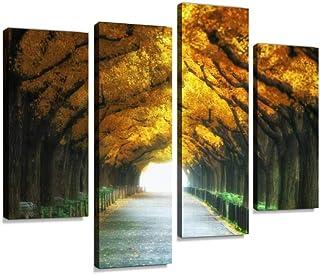 عمل فني جداري مطبوع عليه طريق جميل تحت أشجار وقوس في فصل الخريف صور مطبوعة رقمية تجريدية لغرفة الرسم ديكور مكتب منزلي جاهز...