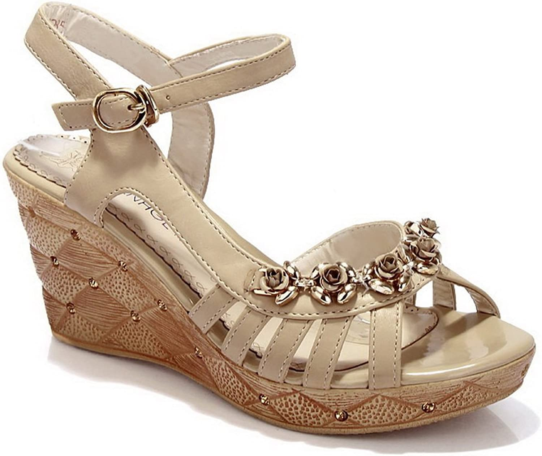 AN Womens Sandals Solid Peep-Toe Urethane Sandals DIU00682