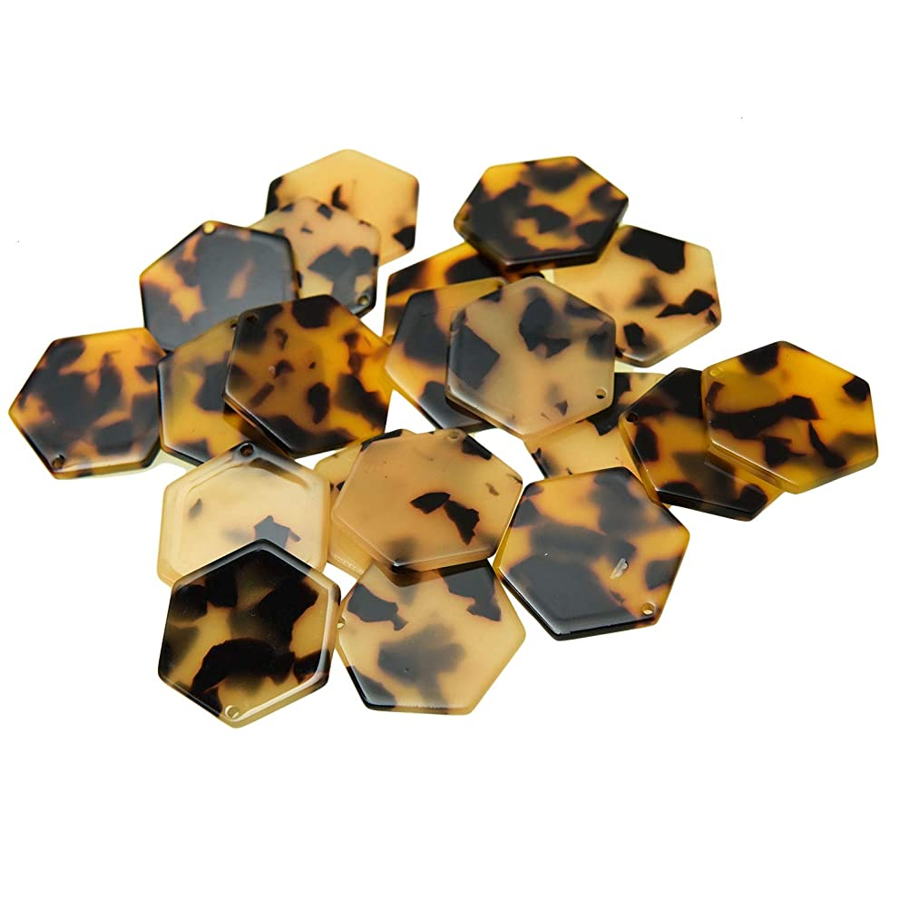 Monrocco 20Pcs Hexagon Acetate Acrylic Charms Pendant Geometric Acetate Connector Acrylic Supplies Necklace Earring Supplies