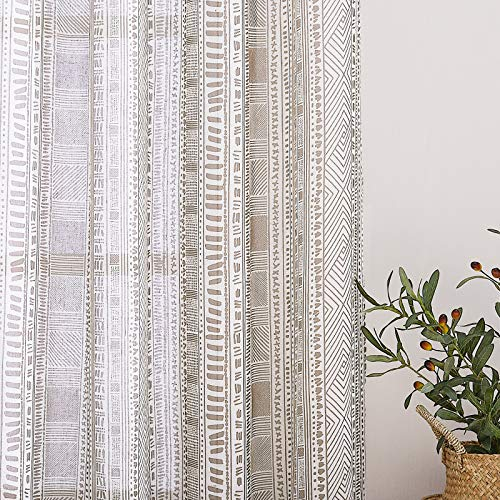 """NICETOWN 45"""" Long Flax Rich Linen Sheer Curtains, Grommet Top Rustic Indian Curtains Half Window Treatment Semitransparent with Light Filter for Kitchen/Bedroom, Taupe, 50"""" Wide"""