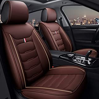 ANKIV Full Set Universal Fit Waterproof PU Leather Car Seat Cover Cushion Protector Adjustable Removable for Sedan SUV Van Truck