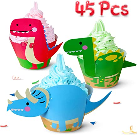 Dinosaur Cupcake Toppers Wrappers Dinosaur Cupcake Decorations Party Supply Jurassic T-Rex Triceratops Spinosaurus Cake Decoration for Baby Shower Dino Party Favor Birthday Party Supply 45PCS CoodFood