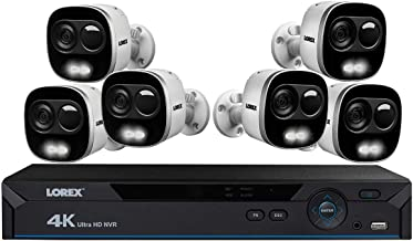 Lorex 4K Ultra HD Security System, HD Active Deterrence Secrurity Cameras w/Long Range Color Night Vision (6 Pack)- Includes 8-Channel NVR w/2 TB Storage Hard Drive