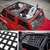 Filet à cargaison arrière - Hamac de toit de voiture - Repose-lit pour Jeep Wrangler JK 2007-2018 - Organiseur de rangement en maille nylon pour pare-soleil (comme sur la photo)
