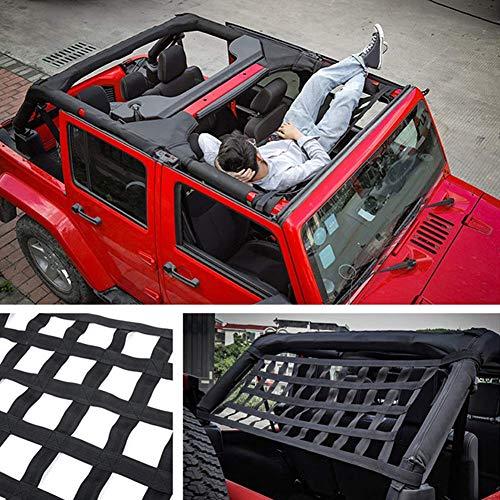 Hinten Oben Gepäcknetz - Auto Dach Matte Auto Bett Ruhe für Jeep Wrangler JK 2007-2018 - Nylon Netz Aufbewahrung Organizer Cargo Sonnenschutz - Wie abgebildet, free size