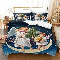 ティーンエイジャーの寝具セット羽毛布団カバーファッション3D羽毛布団カバー 155x220cm クリスマスの小さな天使 キッズチルドレン用3ピース軽量マイクロファイバー羽毛布団カバーセット
