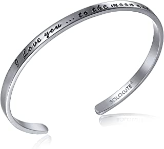 Solocute Mothers Day Sterling Silver Bangle Bracelet Engraved I Love You to The Moon and Back Inspirational Jewelry, Womens Cuff Bracelets