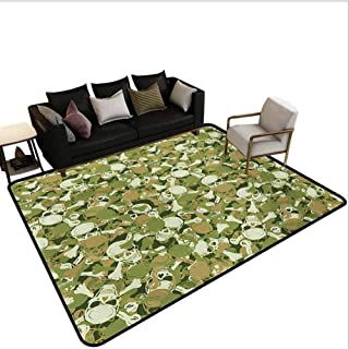 Camo Kitchen Rug Sketchy Skulls and Crossbones Warning Sign Spooky Scary Horror Tile Bedroom Carpet Pale Brown Green Pale Green Area 4'x6'