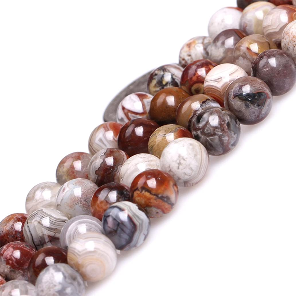 Mexico Laguna Lace Agate Beads for Jewelry Making Natural Gemstone Semi Precious 8mm Round Dark Red 15