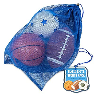Mini Sports Balls in Mesh Bag - Small Inflatable Football, Soccer Ball, and Basketball for Kids - Youth Sports Equipment Set - Toddler & Baby Toys by Brybelly Holdings, Inc.