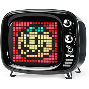 Divoom Tivoo Retro Bluetooth Speaker - Pixel Art DIY Box, RGB Programmable 16X16 LED, Support Android & iOS; TF/SD Card & Aux 3.9X3X3.2 Inches(Black)