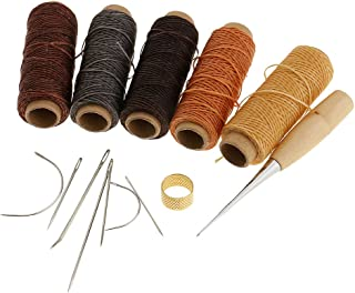 Blesiya Pack of 14 Curved Upholstery Hand Sewing Needles with Leather Waxed Thread Cord Drilling Awl and Thimble for Crafts Repair