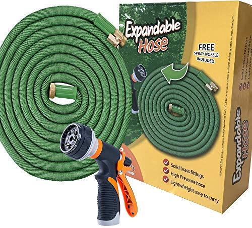 Expandable Garden Hose 100 Ft Long | Heavy Duty Water Hose | Expanding Hose | Free Garden Hose Nozzle | Retractable Hose for Gardening Flexible Water Hose with Solid Brass Fittings Flex Hose