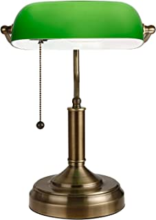TORCHSTAR Retro Banker's Lamp, Green Glass Desk Light, Satin Brass Finish, E26 Base Bulb Compatible, 350 Degrees Rotatable, Pull Cord Switch Included for Living Room, Nightstand Table, Bedroom