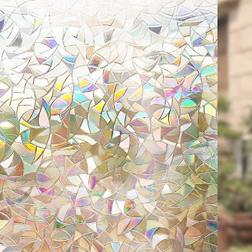Lororenory raamfolie 85 x 300 cm niet-klevende raamfolie, 3D-decoratieve privacyfolie, hecht statisch aan regenboog, kleurrijk patroon, glasfolie, vinylsticker, raamfolie