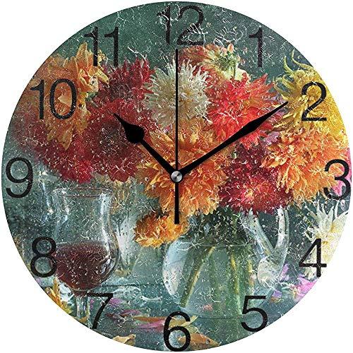 L.Fenn Wijn en Dahlien bloemenpatroon, ronde wandklok, stil, non-ticking olieverf, decoratief voor home kantoor