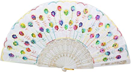 Enviar al Azar 3 Colores Oyachic 3pcs Ventiladores de Mano Redondos y Plegables Mini Abanico de Tela Abanicos Peque/ño Ventilador Port/átil Mini Hand Folding Fans con una Cadena
