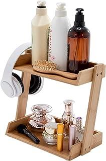 PELYN Makeup Organizer Countertop Bamboo Bathroom Organizer 2-Tier Vanity Tray Standing Shelf Desktop Storage Rack for Vanity Counter Kitchen Tabletop Natural