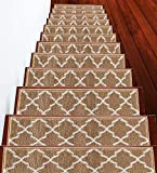 SussexHome Stair Treads - 100% Polypropylene Carpet Strips for Indoor Stairs - Easy to Install Runner Rugs with Double Adhesive Tape - Safe, Extra-Grip, Decorative Mats - 4-Pack - Beige