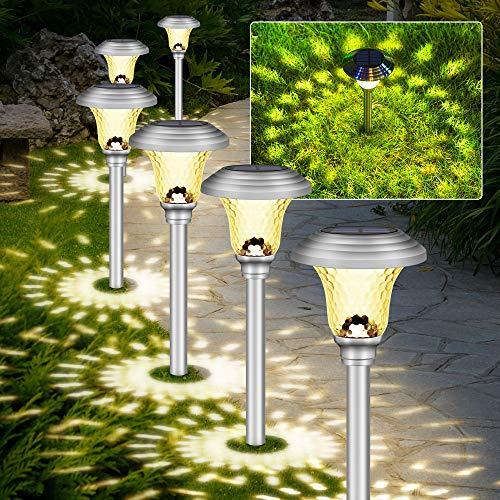 Molbory Lámpara solar para jardín, color blanco cálido, 4 unidades, impermeable, lámpara solar LED, lámpara para exterior, lámpara solar para jardín, césped, terraza, entrada, patio, boda