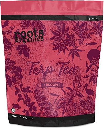 Roots Organics Terp Tea Bloom, Micronized Organic Fertilizer with Beneficial Bacteria and Mycorrhizae, 3-7-4 NPK, 3 lb.
