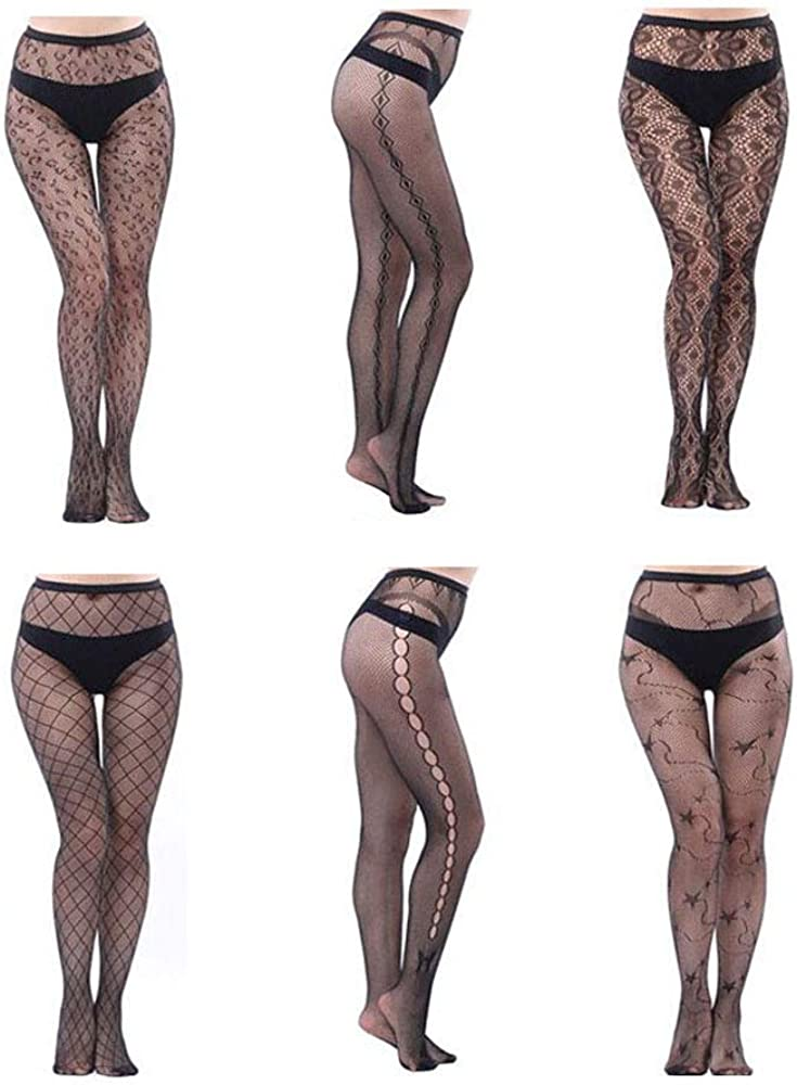 SUSHARE 6 Pairs Lace Patterned Tights Fishnet Floral Stockings Fishnet Tights Pattern Leggings Tights Net Pantyhose