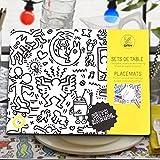 OMY Pochette de 24 sets de table Keith Haring à colorier
