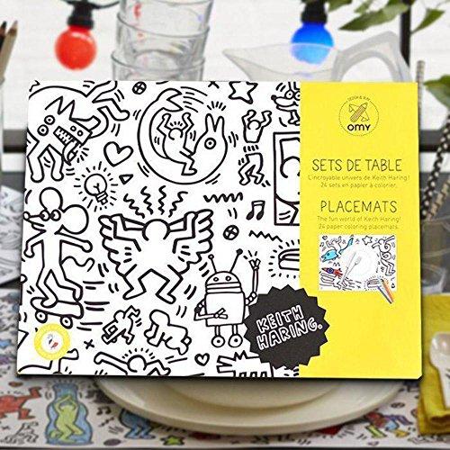 O'my Tovagliette da Tavolo da colorare–tematica Keith Haring–Lotto di 24