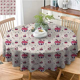 USA Washable Round Tablecloth Kitchen Dinning Tabletop Decoration Cupcakes with Flags Cute Picnic Round Tablecloth Indoor or Outdoor Parties - 51
